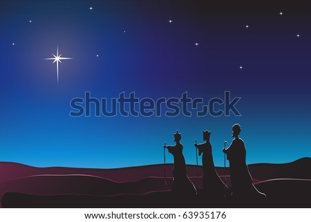 The Three Kings follow the star in the East to Bethlehem. Nativity scene. EPS10 vector format. Space for text. - stock vector