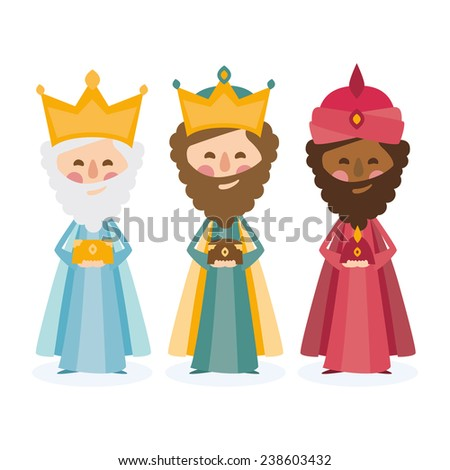 the three kings of orient on a white background  - stock vector