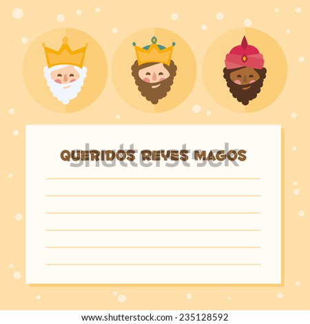 the three kings of orient. vectorized letter on a yellow background - stock vector