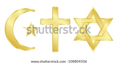 The three religions - vwctor icon - stock vector