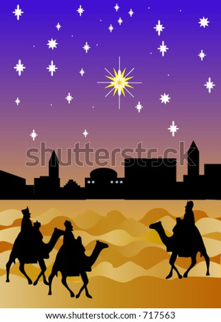 The three wise men arriving from the East - stock vector