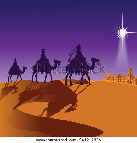 The three wise men riding camels. EPS 10 vector.