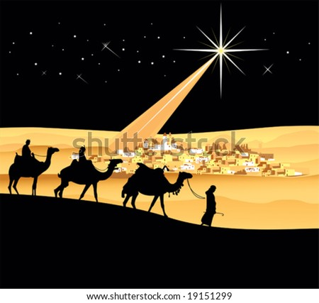 The three wise men, vector illustration - stock vector