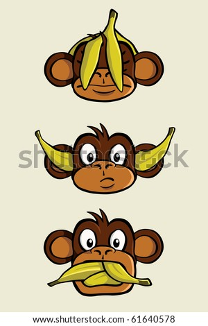 "The three wise monkeys depicting ""See no evil, Hear no evil, Speak no evil"". One monkeys has a banana peel over his head, one has bananas plugged in his ears and one has his mouth full of bananas. - stock vector"