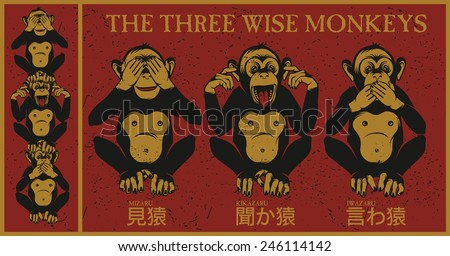 The three wise monkeys.Mizaru, covering his eyes, sees no evil. Kikazaru, covering his ears, hears no evil. Iwazaru, covering his mouth, speaks no evil.  - stock vector