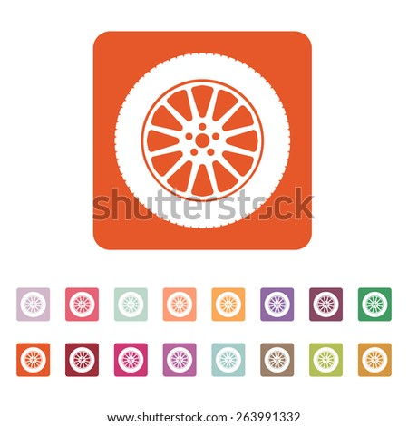 The tire icon. Wheel symbol. Flat Vector illustration. Button Set - stock vector