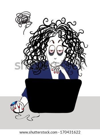 The tired girl with curly hair working near the computer.  - stock vector