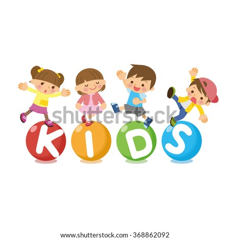 The title of KIDS and children. - stock vector