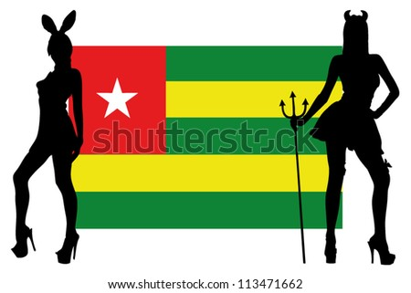 The Togo flag with silhouettes of women in sexy costumes