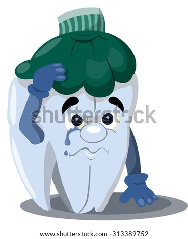 the tooth is sick, sad, cartoon tooth with a hot water bottle on her head - stock vector