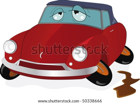 The toy car with curve wheels - stock vector