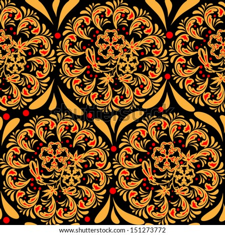 The traditional Russian floral seamless background (red and yellow on black). Stylization khokhloma. Vector illustration. EPS 8. - stock vector