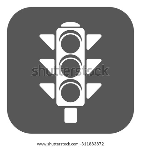 The traffic light icon. Stoplight and  semaphore, crossroads symbol. Flat Vector illustration. Button - stock vector