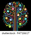 the tree consisting of the arrows and icons on the topic of  social media - stock photo