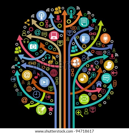 the tree consisting of the arrows and icons on the topic of  social media - stock vector