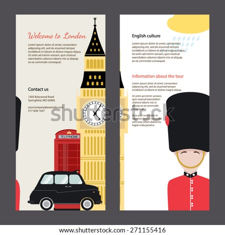 The trip to London. Travel flyers with famous landmarks and symbols of UK: Big Ben, taxi, red phone, guard. Easy editable tourism template. Perfect for posters, banners. - stock vector