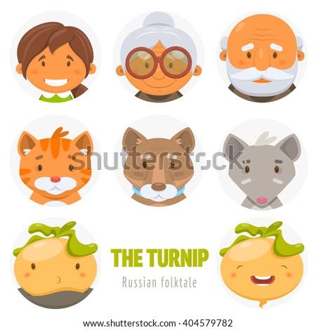 The Turnip. Russian folktale. Set of avatar - stock vector