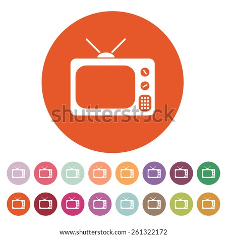 The tv icon. Television symbol. Flat Vector illustration. Button Set - stock vector