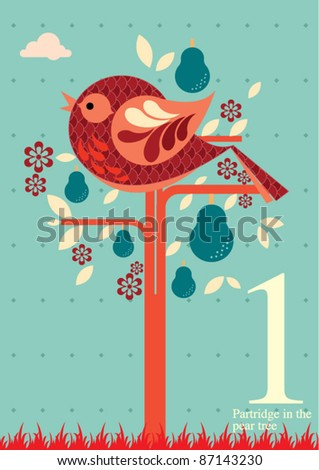 The twelve days of Christmas - first day of Christmas - a partridge on a pear tree - stock vector