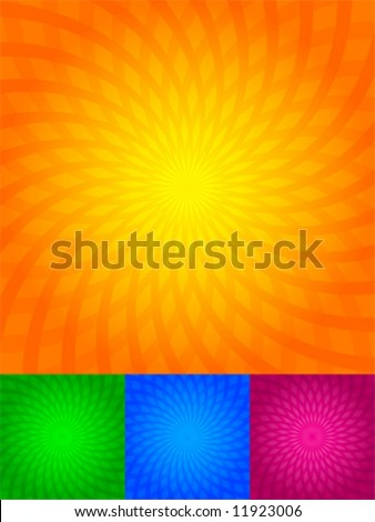 The twirled rays of light, orange, green, blue, pink, background - stock vector
