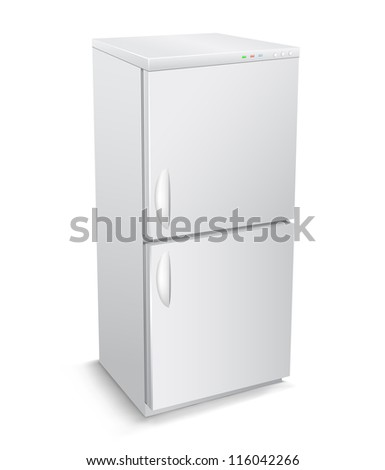 The two-chamber modern refrigerator isolated on the white background - stock vector