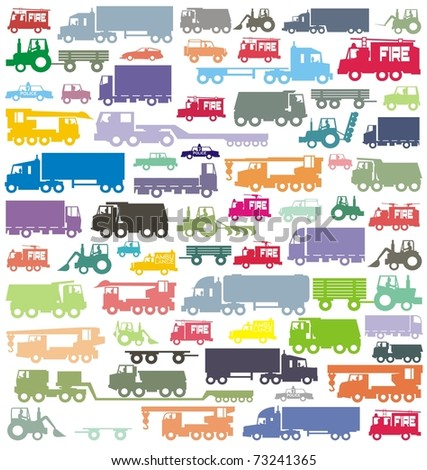 The ultimate car traffic colorful vector illustration collection - stock vector