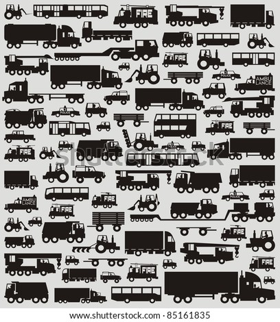 The ultimate car traffic (now including buses) black & white vector illustration set - stock vector