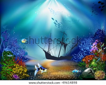 Underwater ocean plants the underwater world of fish