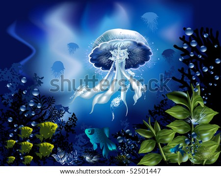 The underwater world of fish, jellyfish  and plants - stock vector