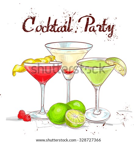 The Unforgettables Cocktail Set cocktail party, excellent vector illustration, EPS 10 - stock vector