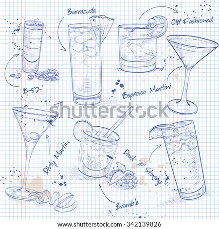 The Unforgettables Cocktail Set on a notebook page, excellent vector illustration, EPS 10 - stock vector