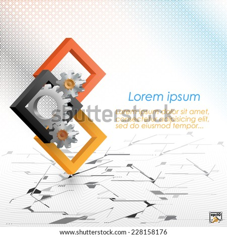 The Unique Idea for technology background; Cogwheels framed by three dimensions squares. Abstract background for office and business, wallpaper, poster, template for designers. - stock vector