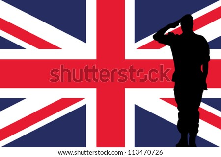 The United Kingdom flag and the silhouette of a soldier saluting - stock vector