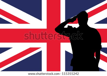 The United Kingdom flag and the silhouette of a soldier saluting