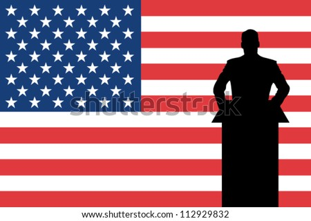 The United States of America Flag with a Silhouette of a man giving a speech - stock vector