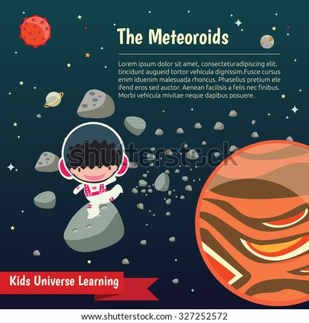 The universe kids,  Planets comparison, Sun and Moon , Galaxies Classification,Kids space learning, Full vector - stock vector