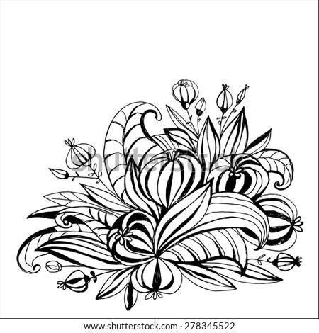 The unusual arrangement of flowers with leaves contour. Hand drawing. Black-and-white pattern. - stock vector