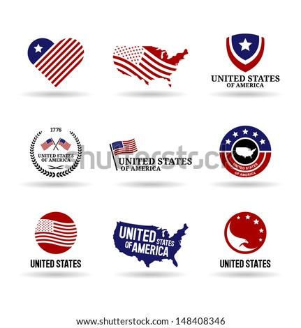 The USA (3). - stock vector