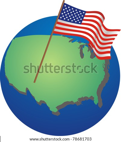 The USA on the globe with national flag - stock vector