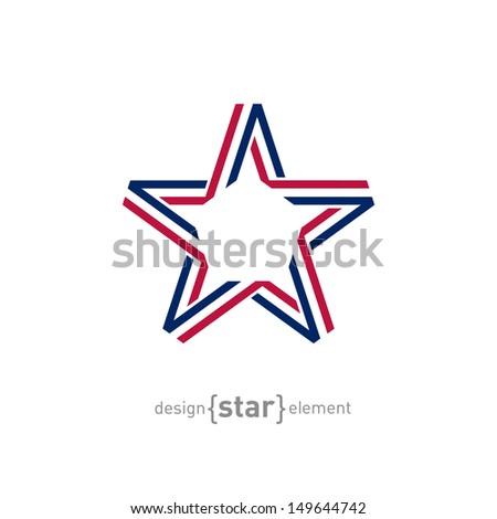 The USA star from ribbon vector illustration - stock vector