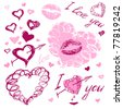 The valentine's day. Love. Hand-drawn icons. - stock vector