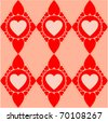 The Valentines diamond pattern with red hearts - stock vector