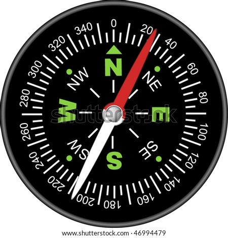 the vector black compass on white background - stock vector