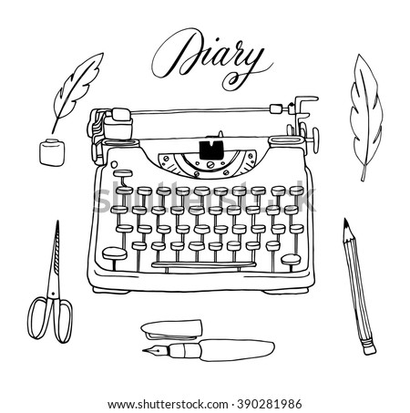 The vector collection of hand drawn writing tools. Typewriter, feather, ink, pen, pencil. Doodle. Sketch. - stock vector