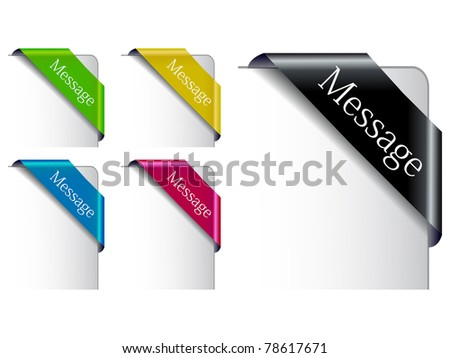 The Vector Colored  Corner Ribbon Set eps 10 - stock vector