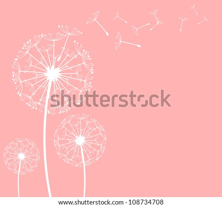 The vector dandelion on a wind loses the integrity