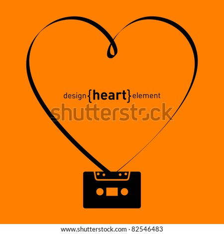 The vector design element heart from tape and audiocassette - stock vector