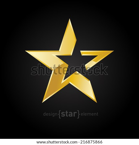 The vector Gold Abstract star on black background. Corporate logo template - stock vector