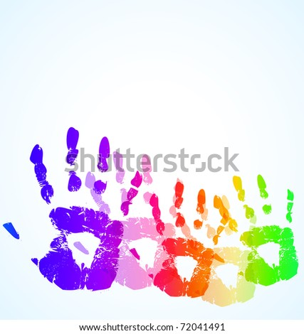 the vector hand print abstract color background - stock vector