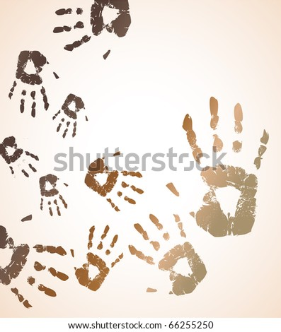 the vector handprint color background eps 10 - stock vector